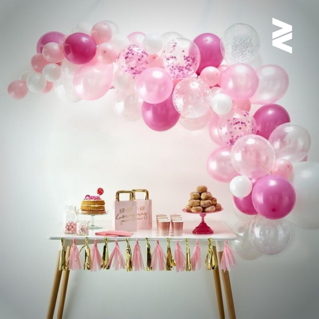Pink themed balloons.