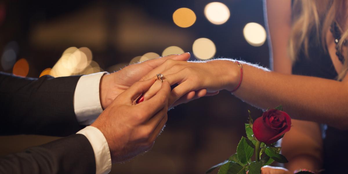 Man proposing with ring.